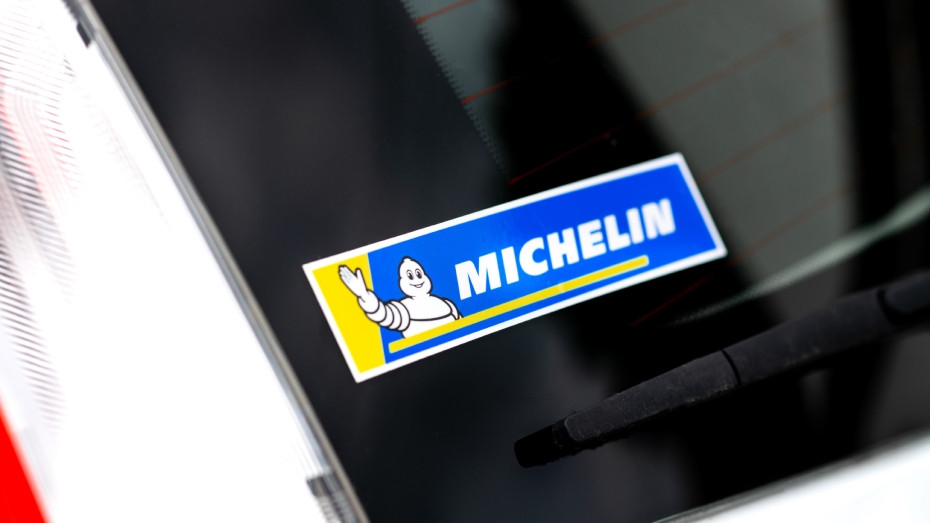 Full colour rectangle Michelin logo sticker on a car window