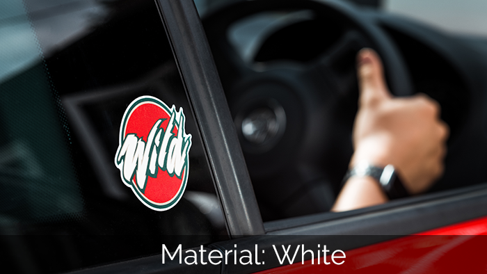 White die cut car sticker applied to a red car window