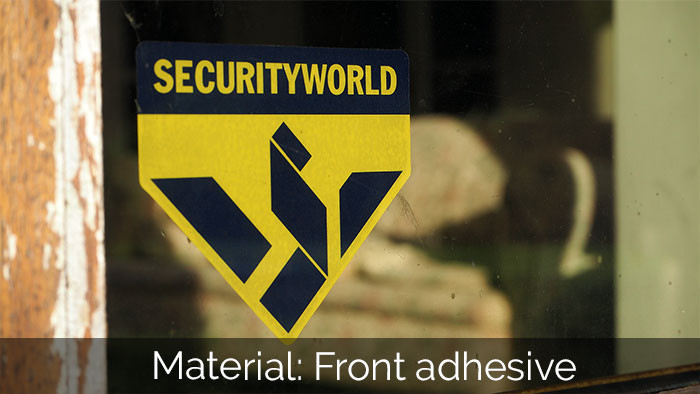 Security world die cut front adhesive sticker applied to the inside of a window