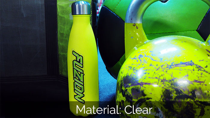 Fusion green sticker applied to a green water bottle with other gym equipment