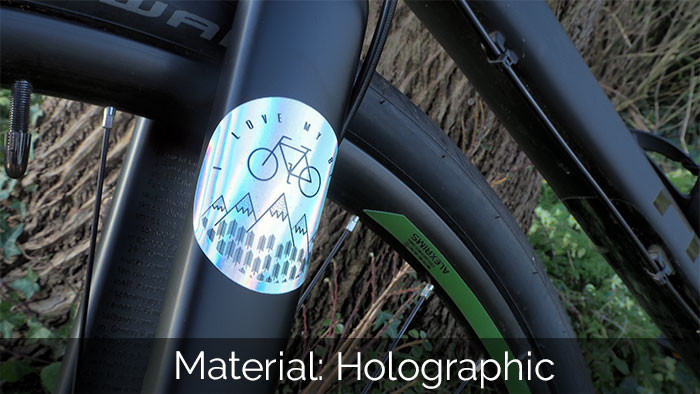 Circular holographic sticker applied to the forks of a black bike standing against a tree