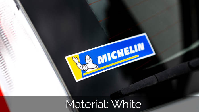 Michelin rectangular white vinyl sticker on a car window