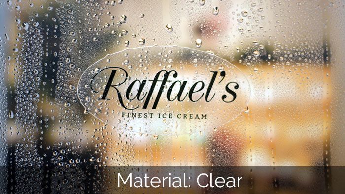Raffael's oval transparent sticker applied to a clear glass window