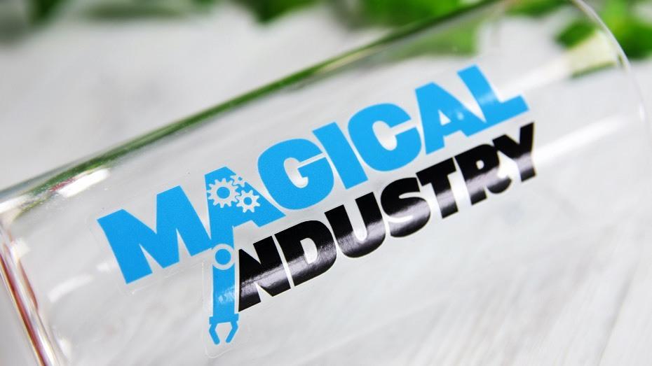 Magical industry rectangle transparent gloss sticker on a glass water bottle
