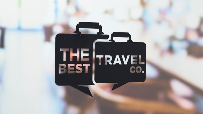 Best travel co black transfer sticker applied to an office window