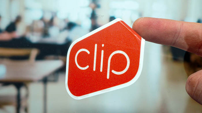 Red and white custom shaped front adhesive sticker for clip