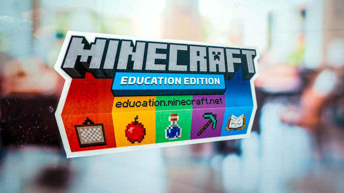 Minecraft die cut full colour front adhesive sticker