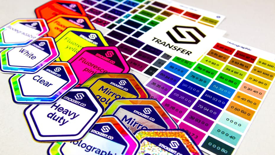 Sample pack from Sticker it containing various stickers on different materials.