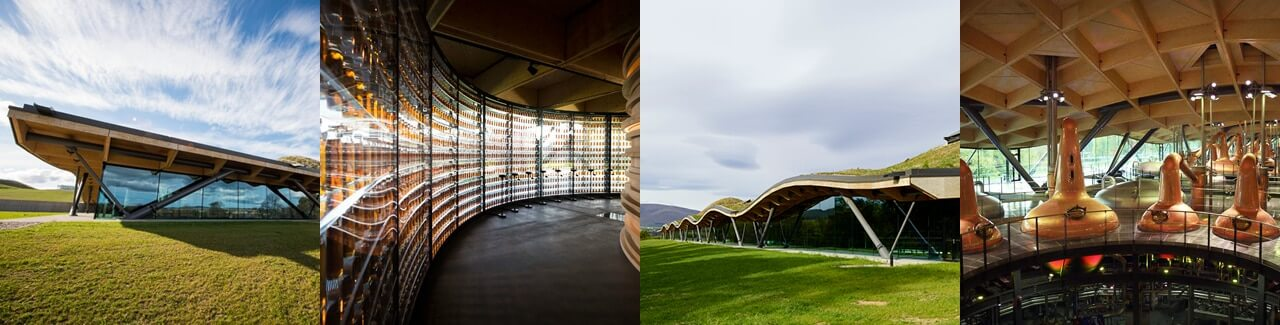 A four part image of Macallan scotch building and beverage storage fascilities.