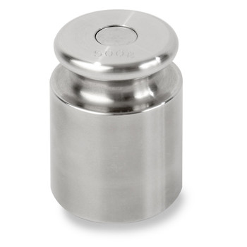 Troemner 500 g Stainless Steel Cylindrical Screw Knob Weight, Traceable Certificate, ASTM Class 7