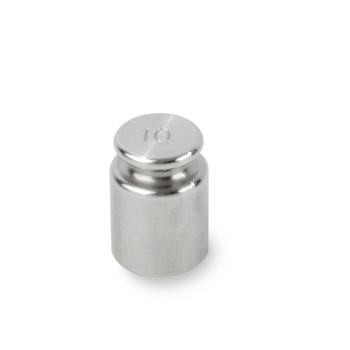 Troemner 10 g Stainless Steel Cylindrical Screw Knob Weight, Traceable Certificate, ASTM Class 7