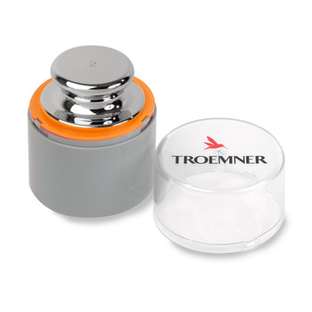 Troemner 2 kg Alloy Cylindrical Screw Knob Weight, NVLAP Accredited Certificate, OIML Class E1