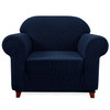 Elegant Jacquard Polyester Spandex Stretch Washable Box Cushion Armchair  Slipcover-Dark Blue