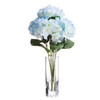 Light Blue Natural Touch Hydrangea Flower in Clear Glass Vase With Faux Water