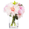 Mixed Silk Rose and Dahlia  Flower Arrangement in Clear Glass Vase With Faux Water(Pink)