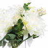 Mixed Artificial Dahlia Flower and Eucalyptus Grass Arrangement in Clear Glass Vase With Faux Water(Cream)