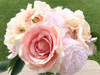 Pink Peony  Rose  and Hydrangea Mixed Faux Flower Arrangement With Clear Glass Vase