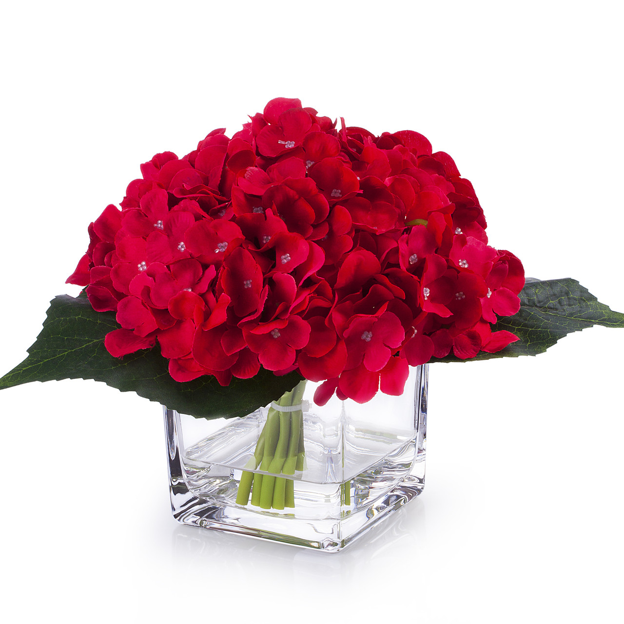 Red Silk Hydrangea Flower Arrangement In Cube Glass Vase With Faux Water Enova Home
