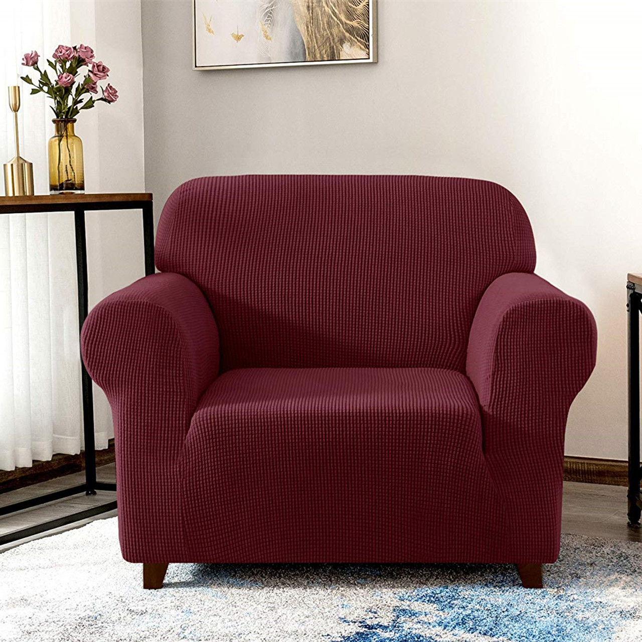 Wine Red Jacquard Polyester Spandex Fabric Box Cushion Armchair Slipcover Enova Home