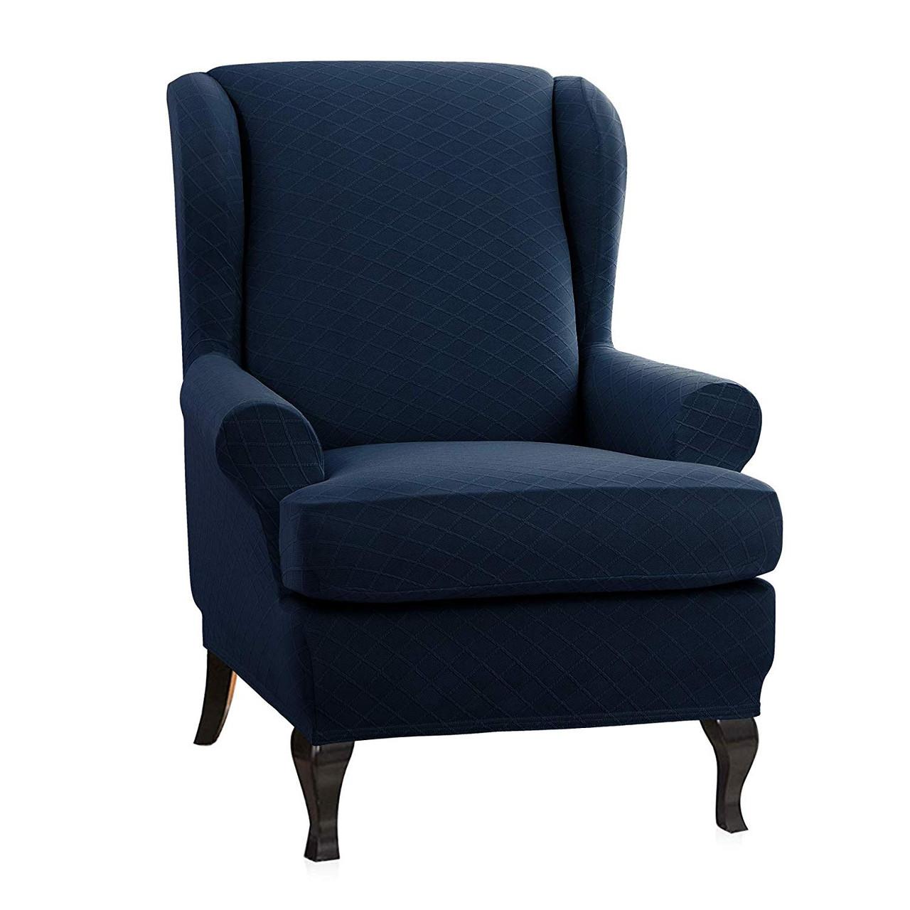 Dark Blue Super Stretch Rhombus Jacquard Spandex Fabric 2 Pieces T Cushion Wingback Slipcover Enova Home
