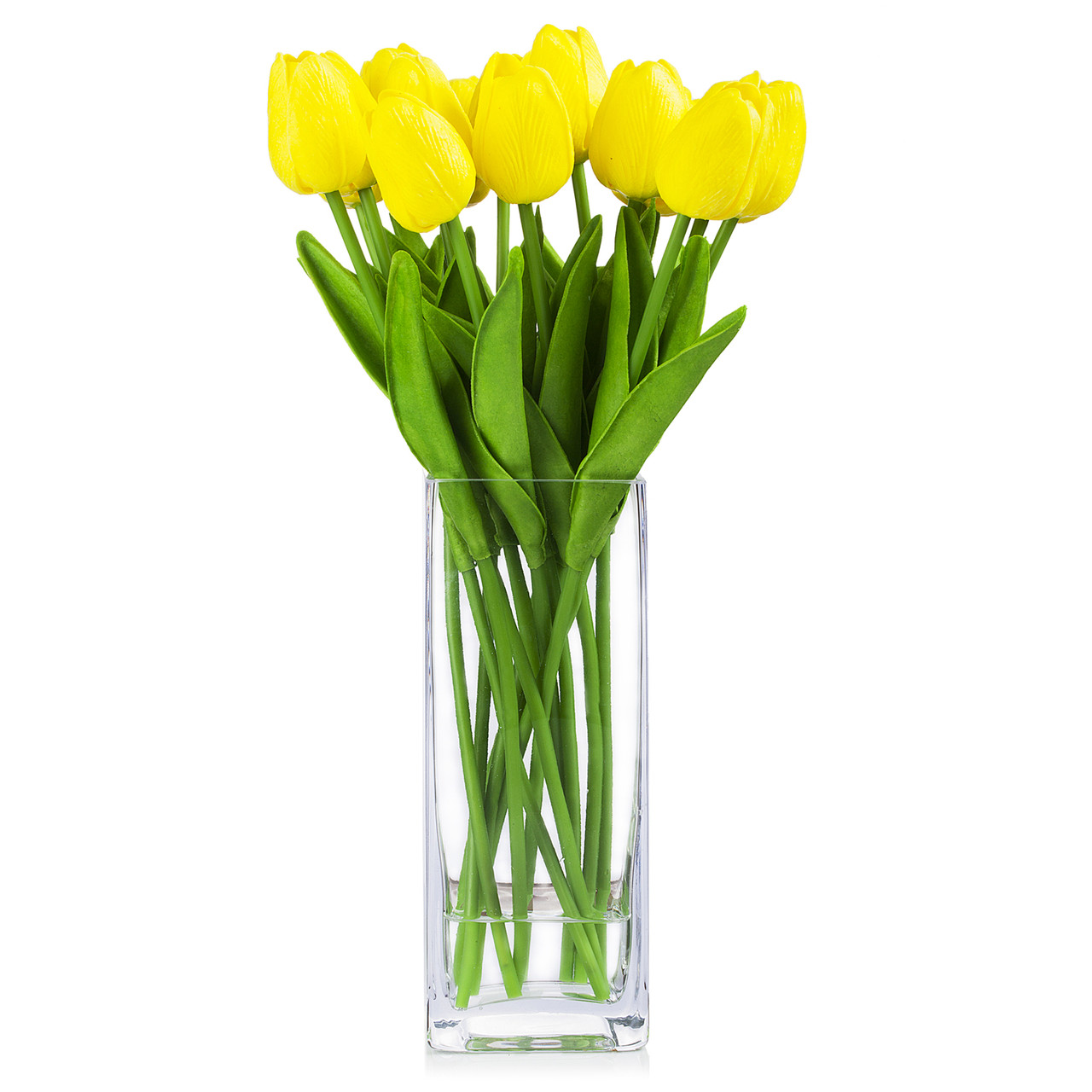 Artificial Real Touch Tulips Flower Arrangement In Glass Vase With Faux Water Yellow Enova Home