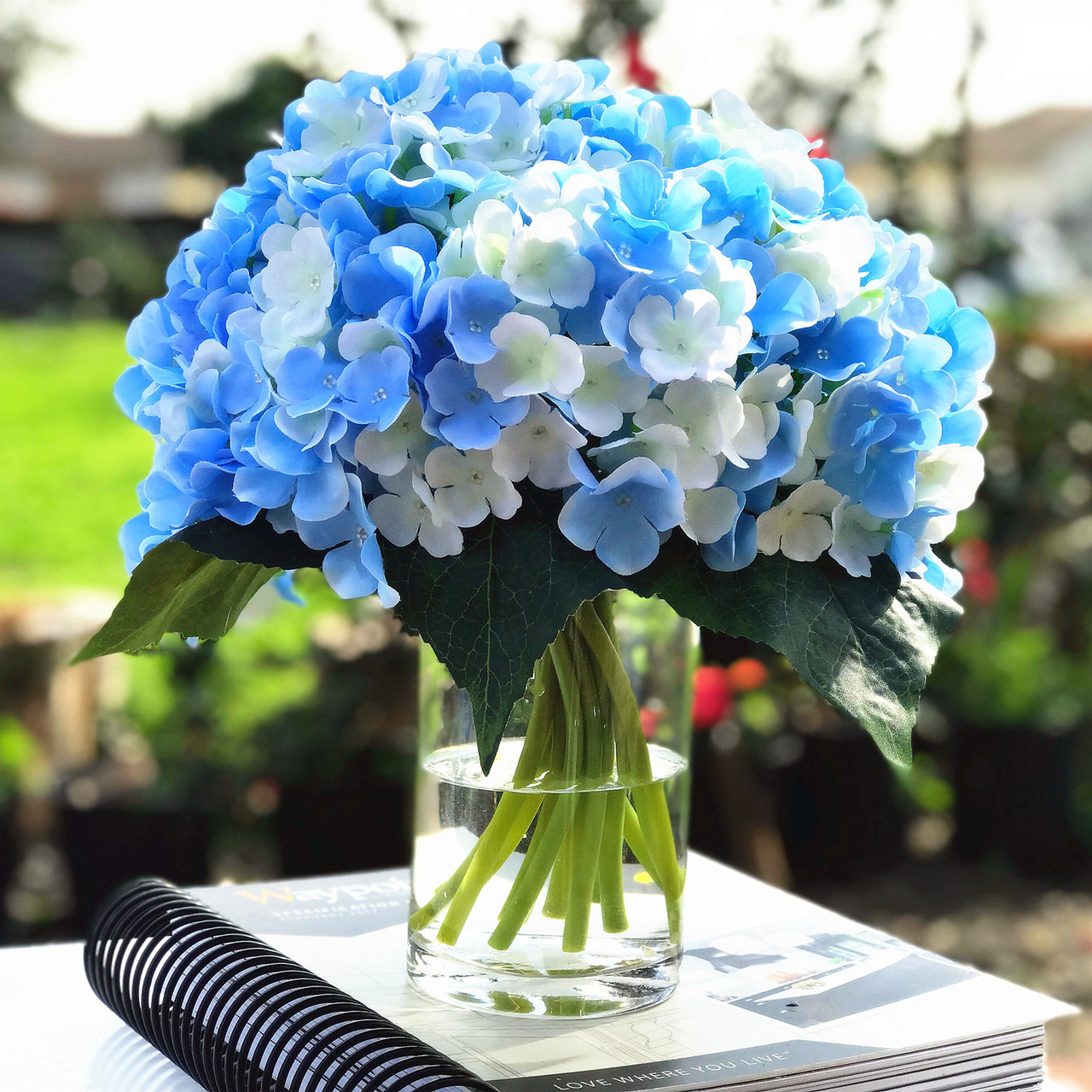Blue Cream Artificial Hydrangea Flower Arrangements With Clear Glass Vase Enova Home