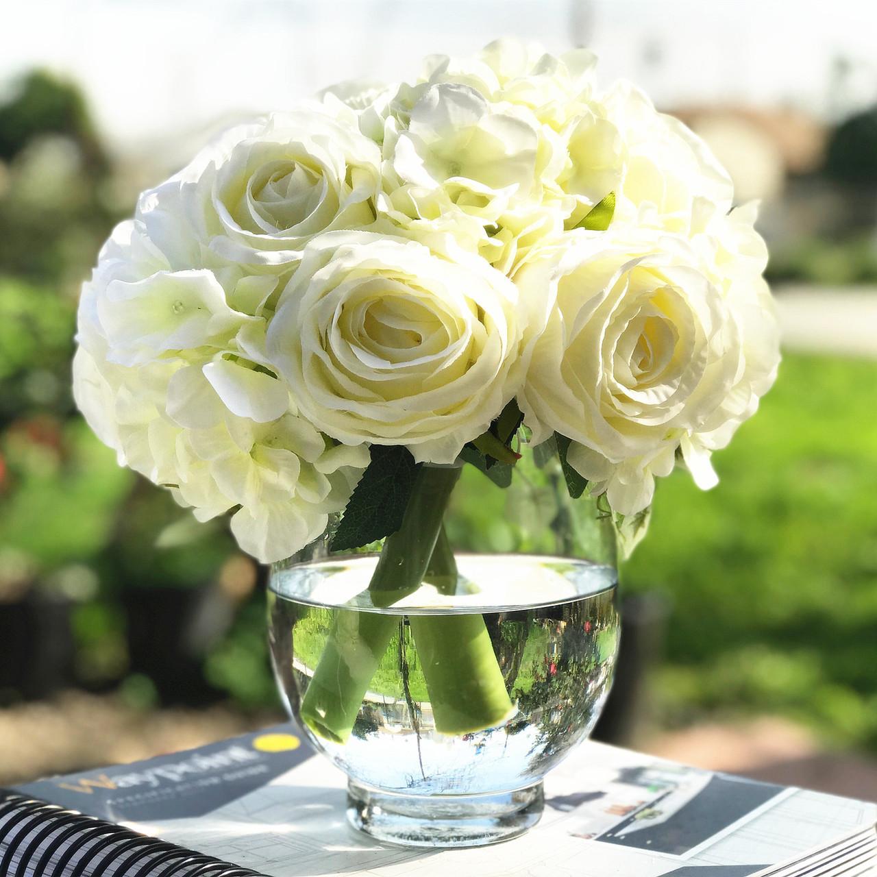 8d6d2d178922 Cream Artificial Rose and Hydrangea Flower Arrangements with Glass Vase ...