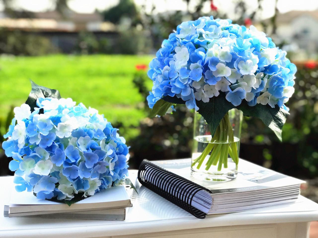Blue Cream Artificial Hydrangea Flower Bouquets Set Of 3 Enova Home
