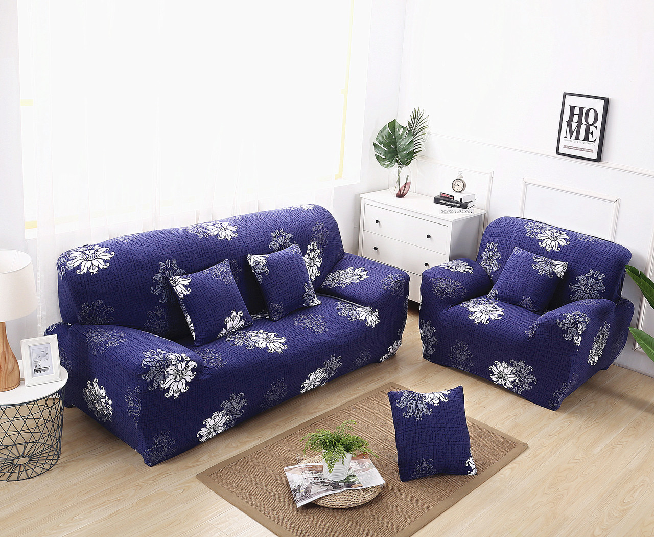 Navy Blue Elegant Polyester And Spandex Stretch Washable Box Cushion Loveseat Slipcover Enova Home