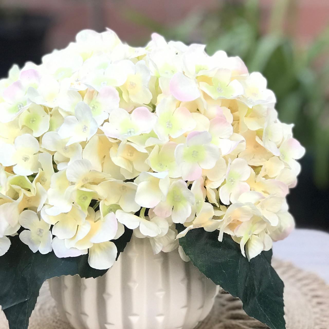 fbebe70f18ea ... Blush Artificial Hydrangea Flower Arrangement with White Ceramic Vase  ...