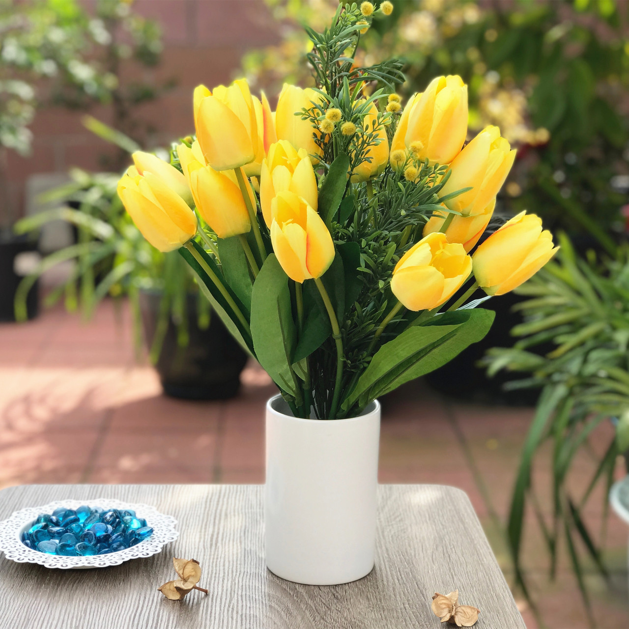 Yellow Tulip And Mixed Faux Flower Arrangements With White Ceramic Vase Enova Home