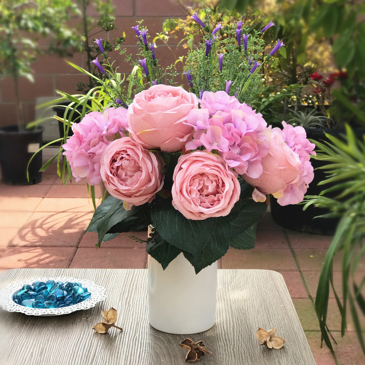 Pink Rose And Hydrangea Mixed Faux Flower Arrangements With White Ceramic Vase Enova Home