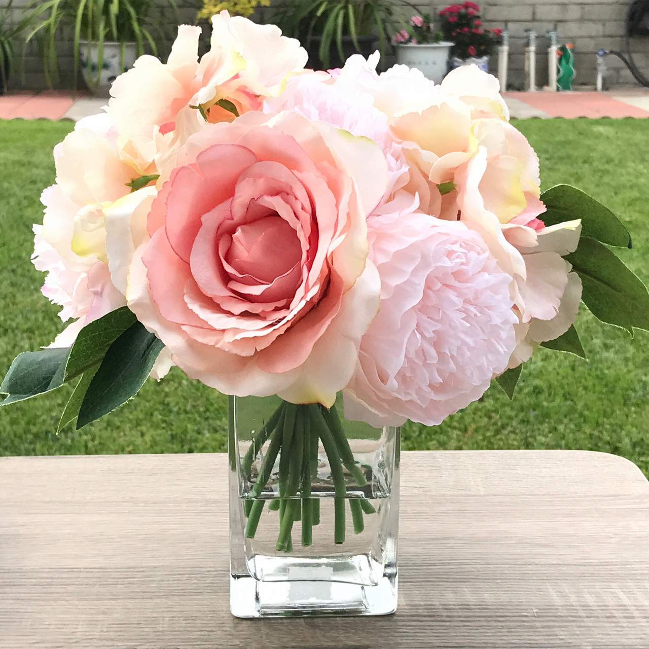 Pink Peony Rose And Hydrangea Mixed Faux Flower Arrangement With Clear Glass Vase Enova Home