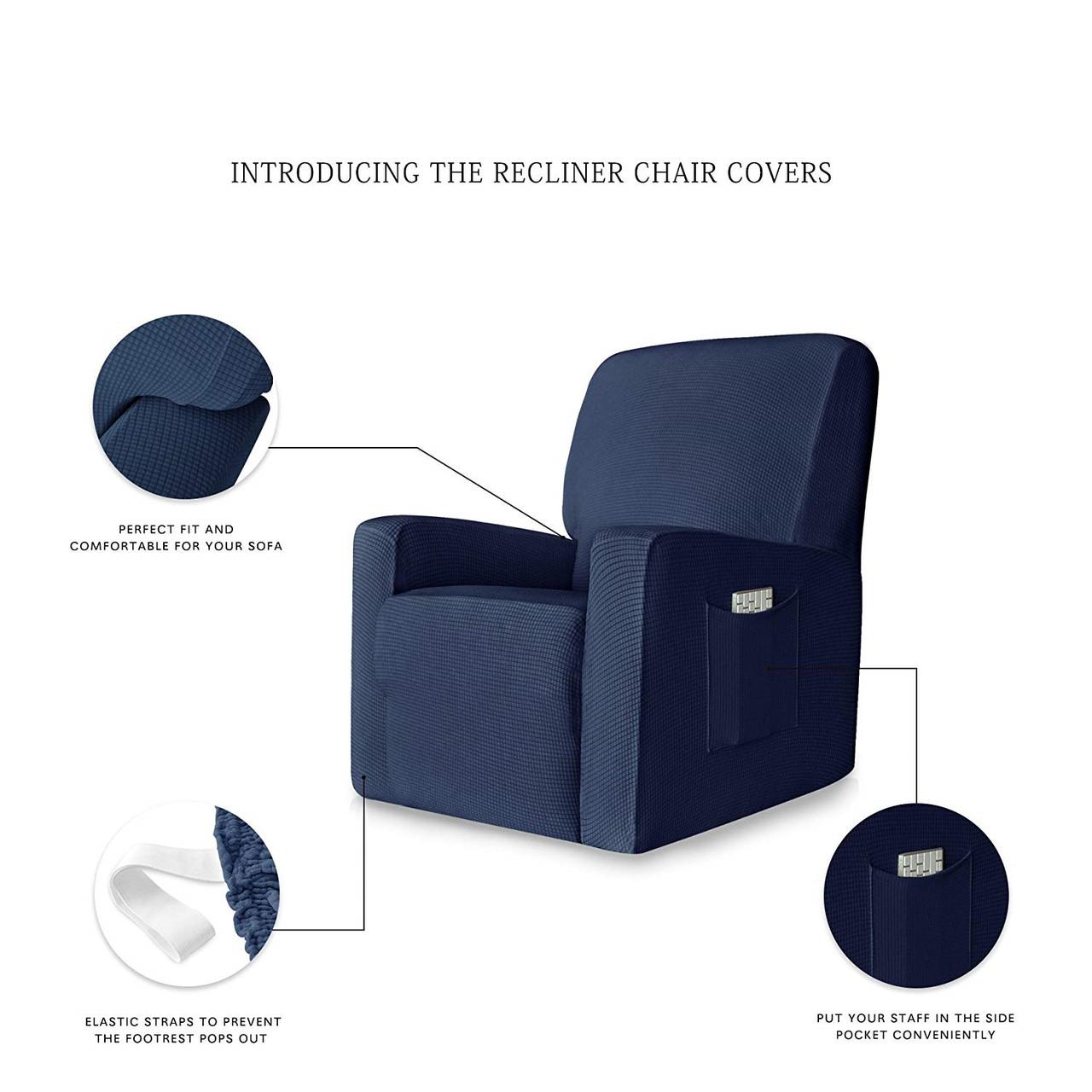 Dark Blue Stretch Spandex Jacquard Recliner Chair Slipcovers With Elastic Bottom Side Pocket Enova Home