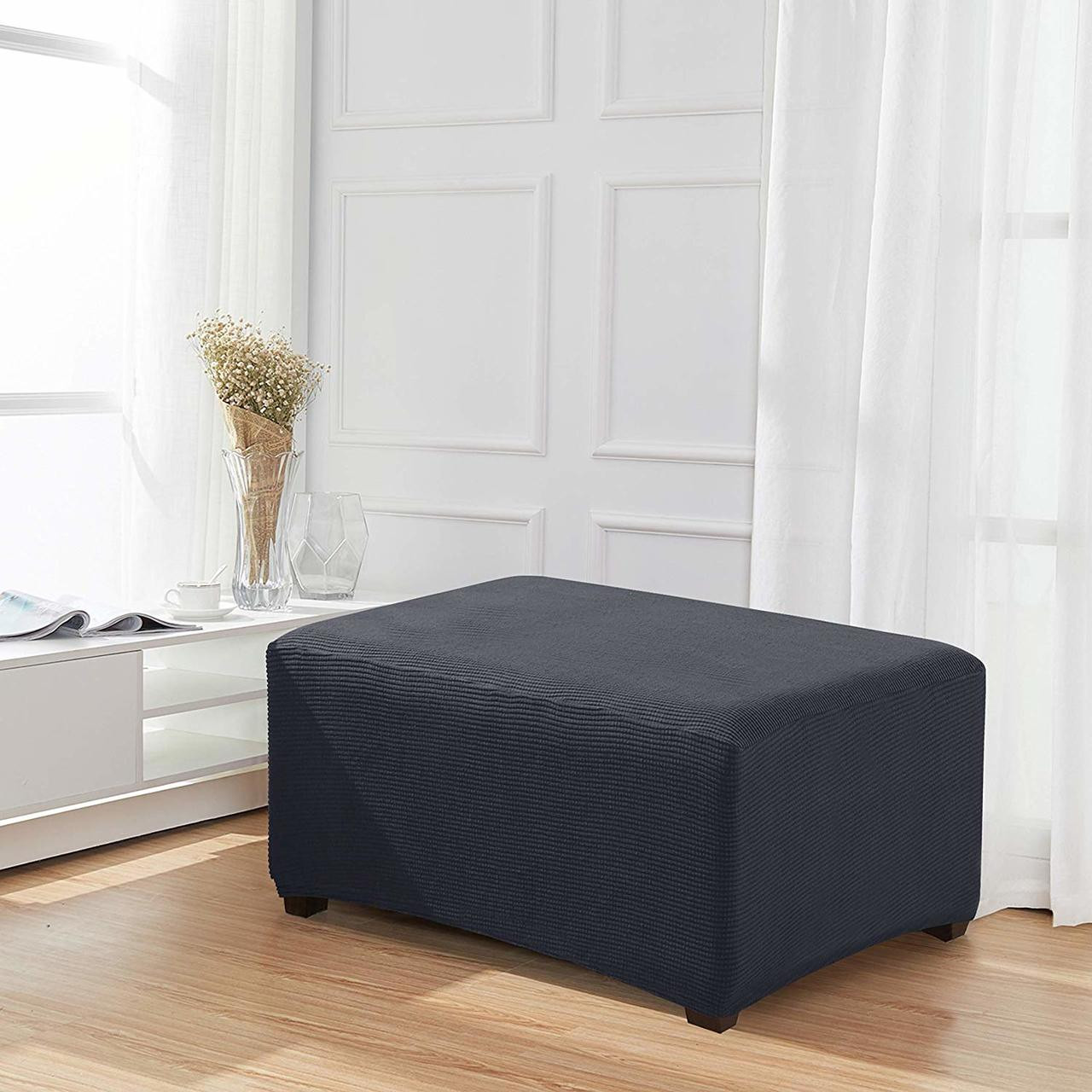 Grey Jacquard Polyester Stretch Fabric Oversized Ottoman Slipcover