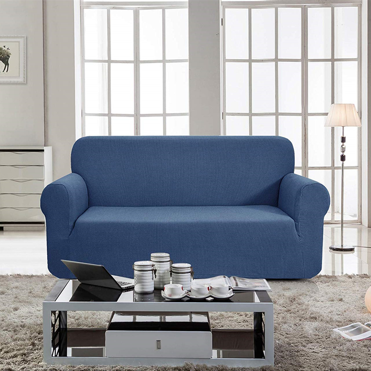 Jacquard Polyester Spandex Fabric Box Cushion Loveseat Slipcovers Denim Blue Enova Home