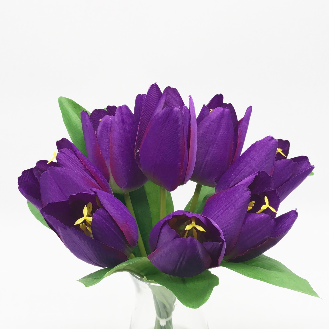 Cool Purple Silk Tulips Centerpiece In Clear Glass Vase With Faux Water Download Free Architecture Designs Intelgarnamadebymaigaardcom