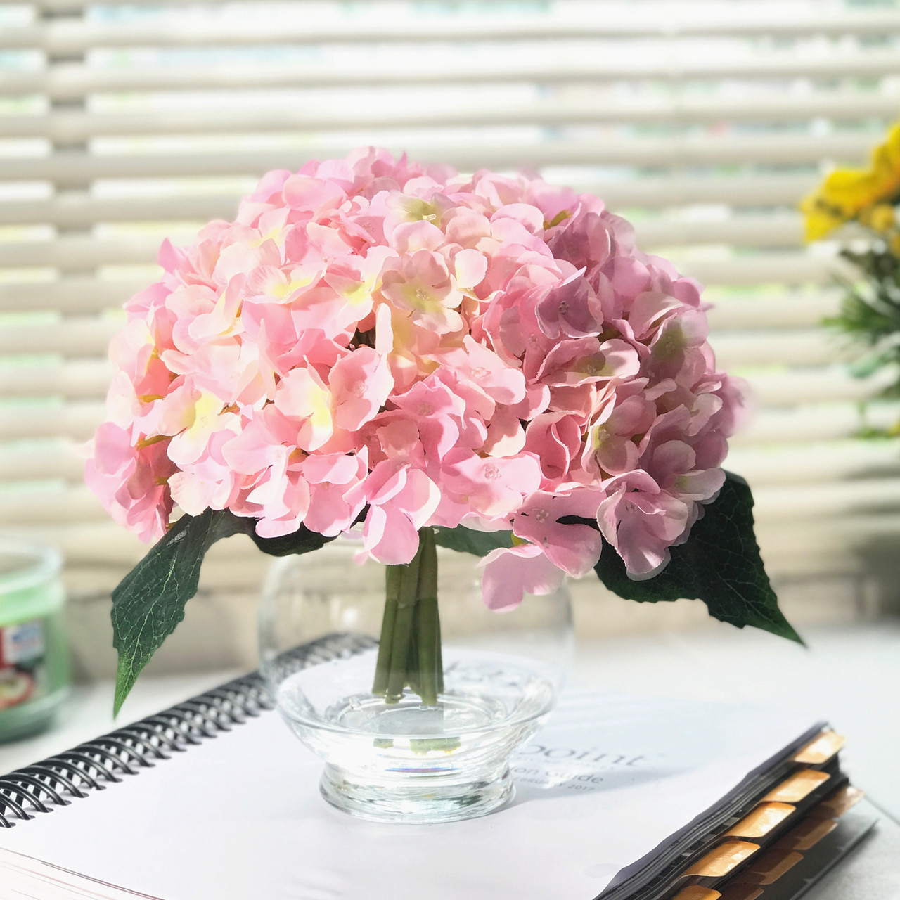 10 Stem Pink Silk Hydrangea Flower In Round Clear Glass Vase With Faux Water Enova Home