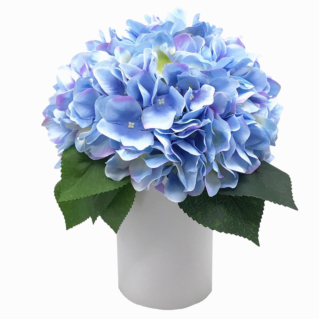 Blue Silk Hydrangea Flower Arrangement In White Ceramic Vase Enova Home