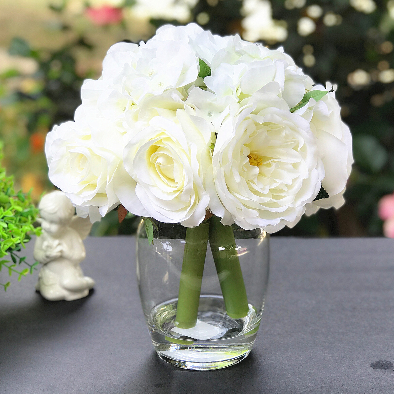 Cream Peony Rose And Hydrangea Mixed Faux Flower Arrangement With Clear Glass Vase Enova Home