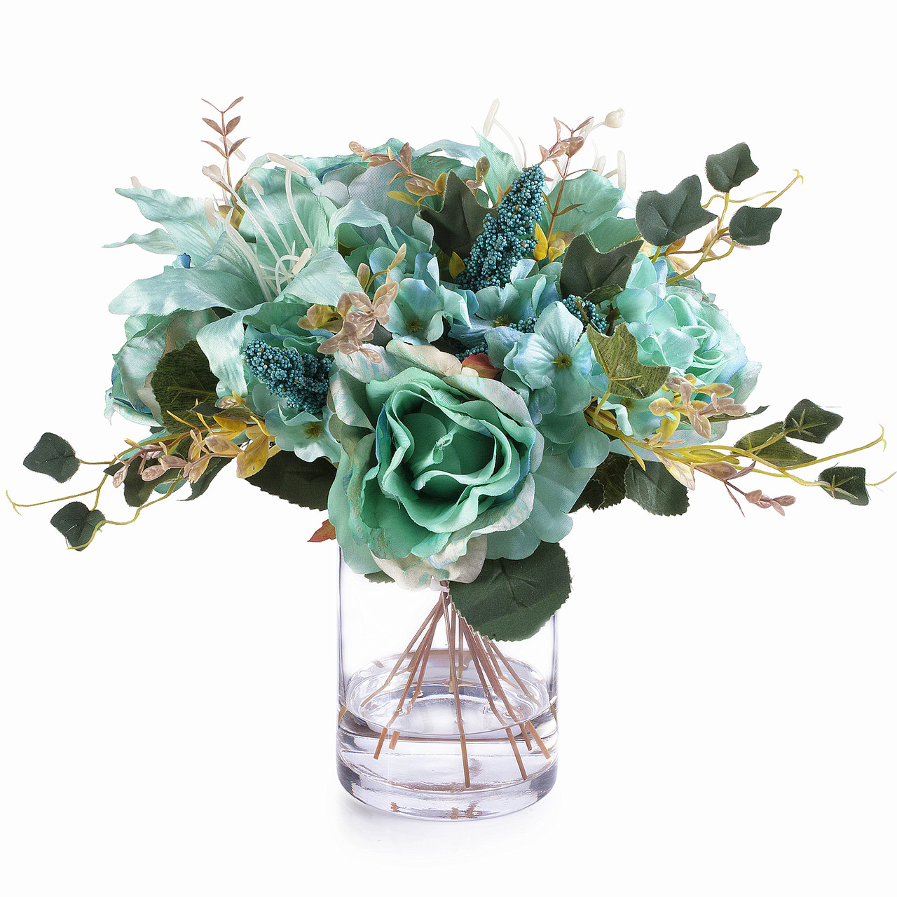 Aqua Mixed Rose Lily And Hydrangea Silk Flower Arrangement In Clear Glass Vase With Faux Water Enova Home