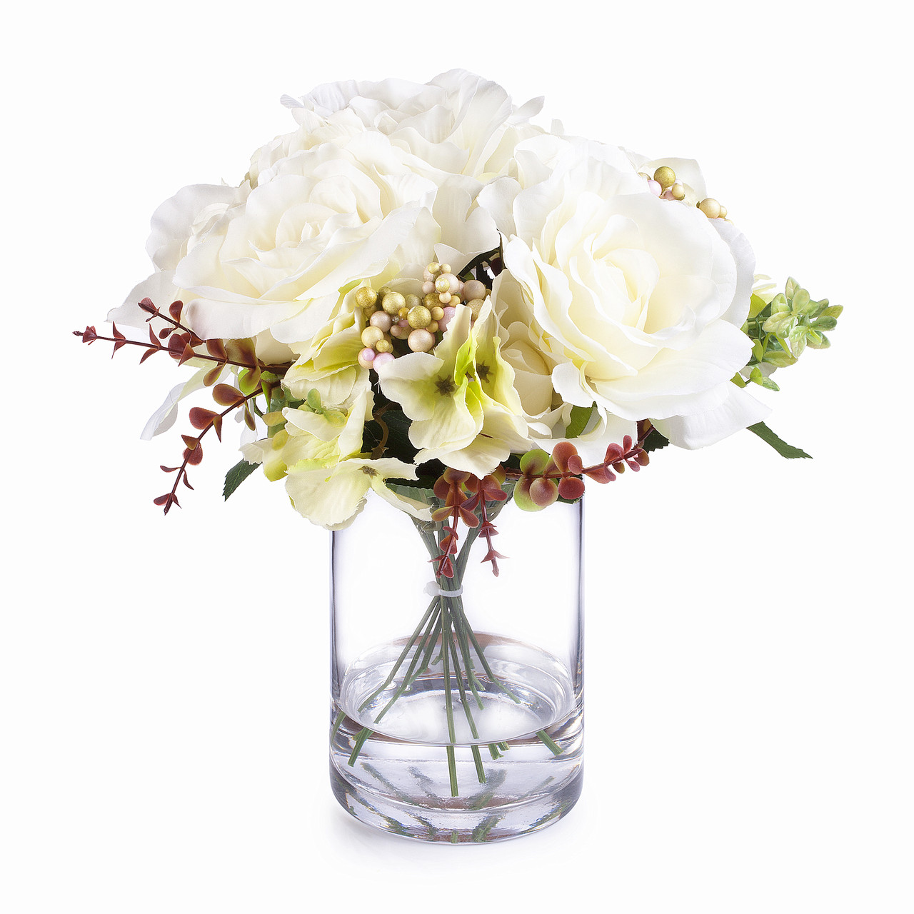 Cream Mixed Rose And Hydrangea Silk Flower Arrangement In Clear Glass Vase With Faux Water Enova Home