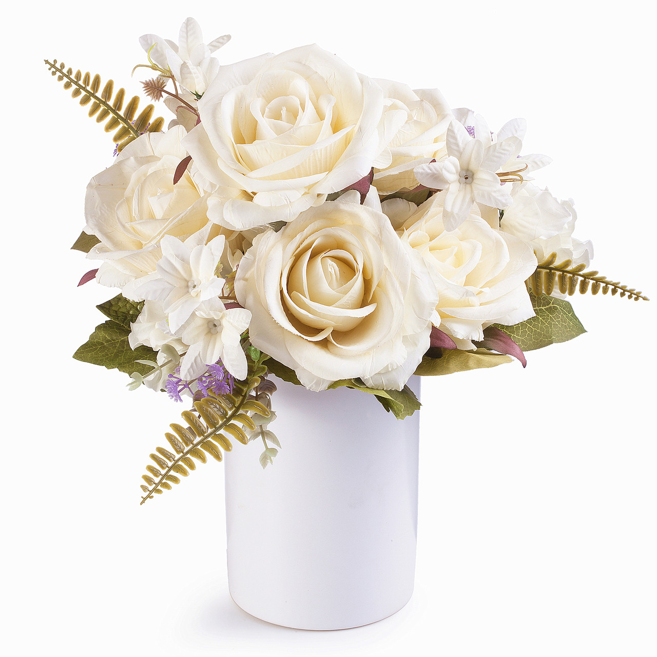 Cream Rose And Hydrangea Silk Flower Arrangement In Ceramic Vase With Faux Water Enova Home