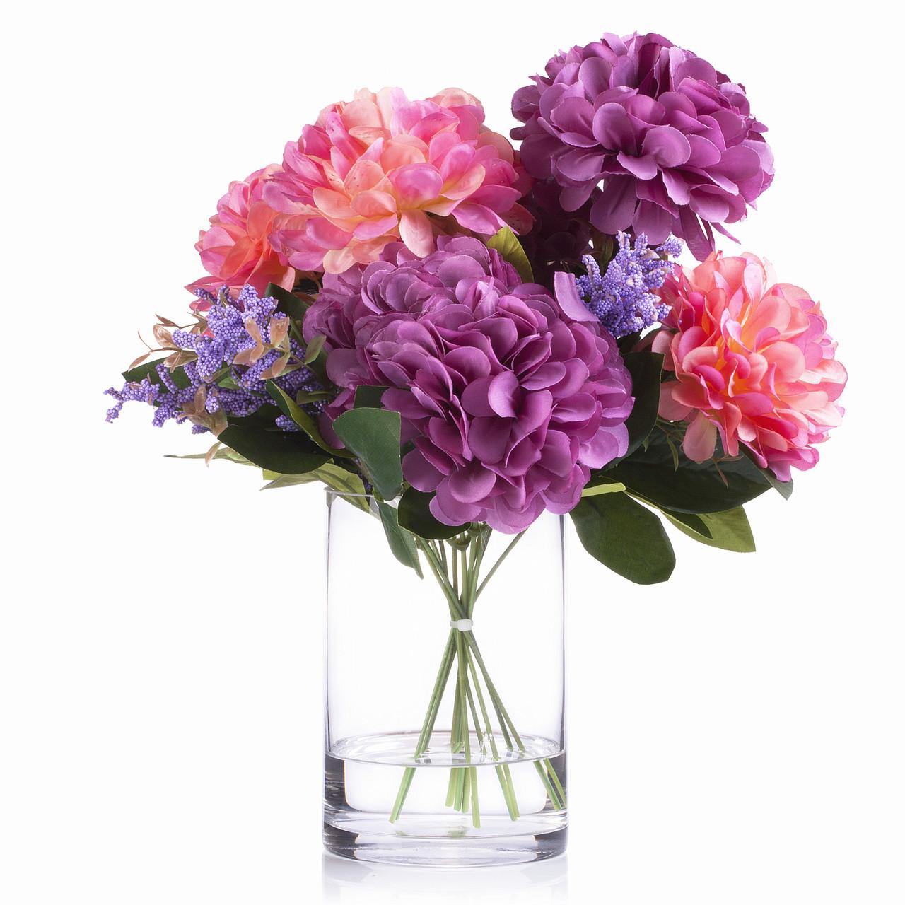 7 Heads Purple Pink Dahlia Silk Flower Arrangement In Glass Vase With Faux Water Enova Home