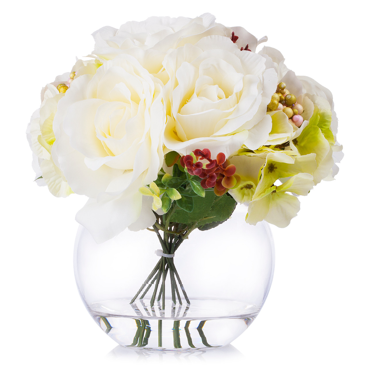 Cream Rose And Hydrangea Silk Flower Arrangement In Round Glass Vase With Faux Water Enova Home