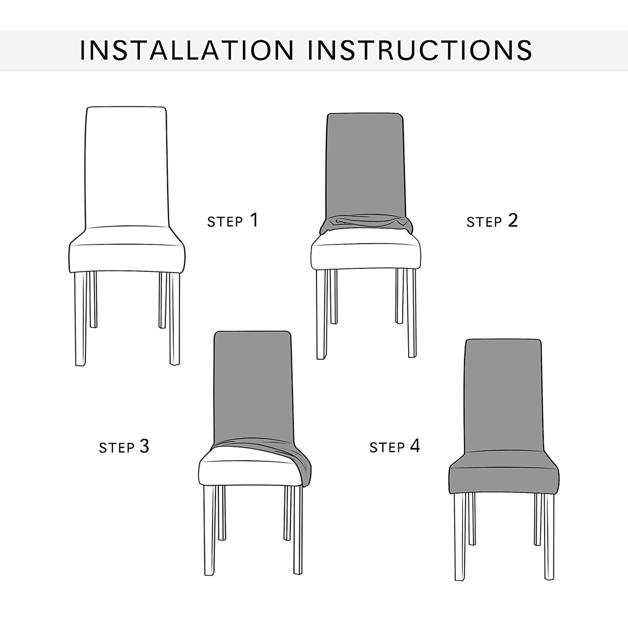 Picture of: Steel Blue Ultra Soft Stretch Fabric Dining Chair Slipcovers Removable Anti Dirty Fitted Furniture Protector Set Of 4 Enova Home