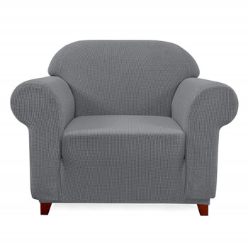 Elegant Jacquard Polyester Spandex Stretch Washable Box Cushion Armchair  Slipcover-Light Grey