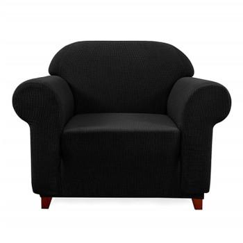 Elegant Jacquard Polyester Spandex Stretch Washable Box Cushion Armchair  Slipcover-Black