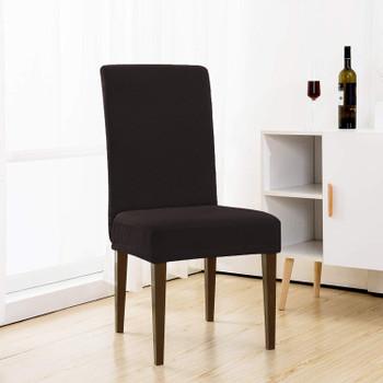 Rhombus Jacquard Stretchy Universal Dining Chair Slipcovers (Chocolate)