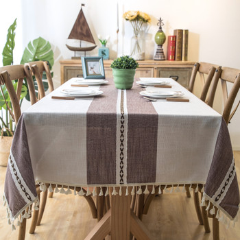 Purple Beige High Quality Rectangle Cotton and Linen Tablecloth with Tassels